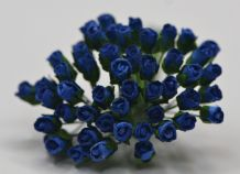 4mm DARK ROYAL BLUE ROSE BUDS Mulberry Paper Flowers